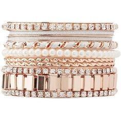 Charlotte Russe Embellished Bangle Bracelets - 8 Pack ($4.20) ❤ liked on Polyvore featuring jewelry, bracelets, gold, hinged bangle, glitter jewelry, bangle bracelet, rhinestone bangle bracelet and rhinestone jewelry