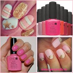 Shellac nail art ideas: Gold glitter and baby pink