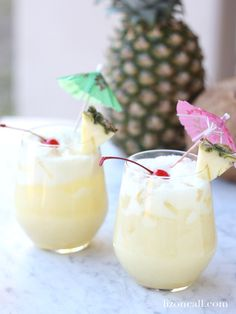 Get a feel for the islands at your next party or luau with this sparkling pina colada party punch. Who doesn't love a delicious drink with an umbrella in it?