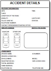 Be prepared... in case of a car accident