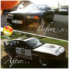 Before and After!  #StanceFanatix #StancePolice #StanceOfficer #Bmw #E36 #German