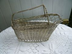 antique french silver metal weaved wire bottle by Lepapadesmatous, $70.00