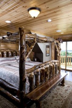 Custom Hybrid Log Homes & Timber-Frame Homes – Photo Gallery by Wisconsin Log Homes - Bedrooms - Wisconsin Log Homes