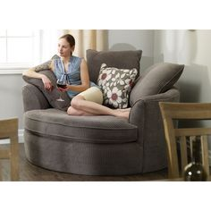 Perfect in corners, this oversized round nest chair features ample cushions, two distinctive fabric options and a great price, making it a winner for any home. Comfy Reading Chair, Big Comfy Chair, Comfy Armchair, Reading Room, Living Room Chairs, Living Room Decor, Bedroom Decor, Dining Chairs, Nest Chair
