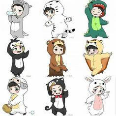 Animal Costume EXO  EXO Fanart  EXO Animal costumes y Kpop