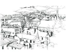 Galena Illinois View Of Town Drawing  - Galena Illinois View Of Town Fine Art Print