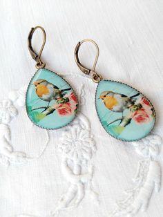 Robin bird vintage earrings. Bird Jewelry. Robin by ReyesRobledo