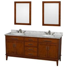 Wyndham Collection Hatton 72 inch Double Bathroom Vanity in Light Chestnut, White Carrera Marble Countertop, Undermount Oval Sinks, and 24 inch Mirrors
