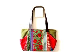 Rectangular Handbag Flowered Pattern Red Genuine by iremabags Measures: 18 1/2 inches x 10 inches aprox Handle 24 inches aprox