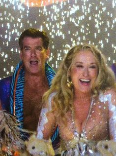 "With Pierce Brosnan in ""Mamma Mia!"""
