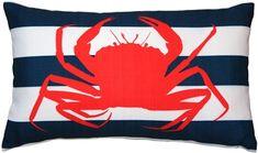 Red Crab Nautical Throw Pillow 12X20