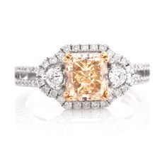 This Art Deco style engagement ring is constructed in solid white gold. Centering a fancy natural light yellow radiant cut diamond of approx. clarity, secured by four yellow gold paw-prongs. Yellow Diamond Engagement Ring, Deco Engagement Ring, Antique Engagement Rings, Radiant Cut Diamond, Art Deco Jewelry, Art Deco Fashion, White Gold, Fancy, Crystals