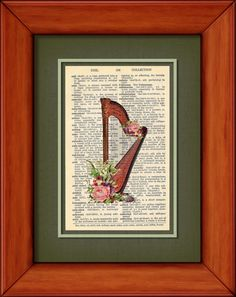 Dictionary Print  Floral Harp  6 3/4 x 9 3/4 by PagesOfAges, $7.00
