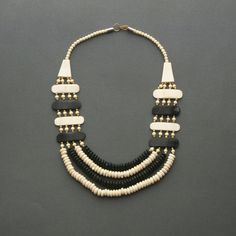 Vintage Tribal Bone Necklace  Multistrand Bib Black & by TheDeeps,