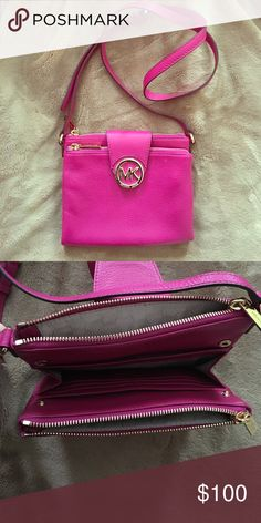 Michael Kors small cross-body bag All leather hot pink Michael Kors cross-body bag with adjustable strap and gold zippers/fasteners. Two zippered pocket sections with hidden wallet/cardholder section in the middle. Michael Kors Bags Crossbody Bags