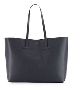 Medium Grained Leather Grey Tote Bag by TOM FORD at Neiman Marcus.