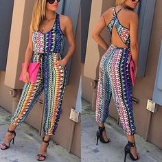 Blue Floral Cut Out Cross Back Drawstring High Waisted Aztec Boho 2-in-1 Long Jumpsuit
