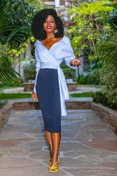 Wrap Button Down Shirt + Pencil Midi Skirt (Style Pantry) Work Fashion, Curvy Fashion, Skirt Fashion, Fashion Dresses, Fashion Top, Fashion Clothes, Womens Fashion, Midi Skirt Outfit, Skirt Outfits