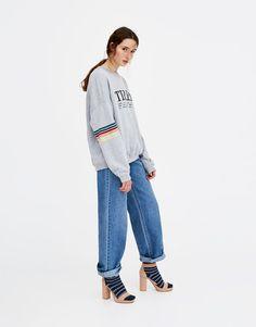 Pull&Bear - donna - abbigliamento - solo online - felpa paradise tired - grigio vigoré - 05593393-V2018