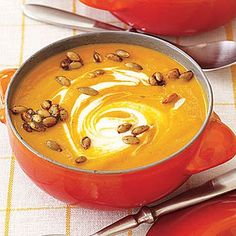 Curl up with a bowl of curried pumpkin soup. | Health.com #pumpkin #soup #recipe
