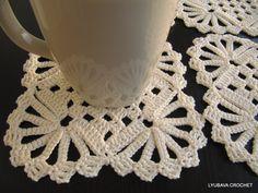 PDF Crochet Pattern, Easy Tutorial Pattern Shabby Chic Crochet Coaster, Shabby Chic Decor, Lyubava Crochet Pattern number 11, via Etsy.