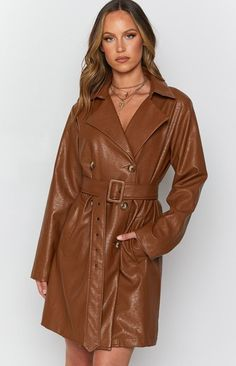 Tan Trench Coat, Strappy Heels, Leather Fashion, Lounge Wear, Night Out, Womens Fashion, Long Sleeve, Casual, Gold Accessories