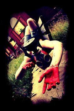 Loss of Innocence 2 - Dark Art Photography - Gas Mask - Halloween - Horror - April A Taylor