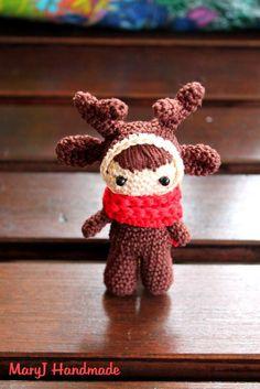 Schema gratis per realizzare una renna amigurumi all'uncinetto| Free pattern to crochet a reindeer doll amigurumi