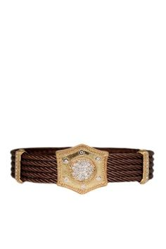 Charriol 18K Yellow Gold, Bronzed Steel & Diamond Bangle Bracelet - 0.56 ctw
