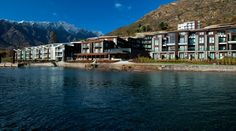 Here's the Lakefront view of the Hilton Hotel Queenstown. We got a cheap deal for the night in a room with an outdoor spa, and were right on the water (you can see the unit we had in this photo). The hotel bar and the pub were both excellent, and the service amazing all round. Incredible. Woke up to sunshine and beautiful snowy mountains!