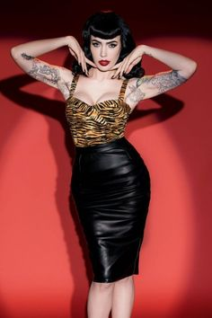 Pinup Couture 50s Deadly Dames Curves Skirt in Black Faux Leather #michelinepitt