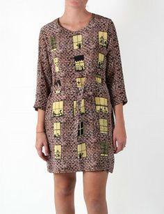 Peter Jensen brick wall silk print dress
