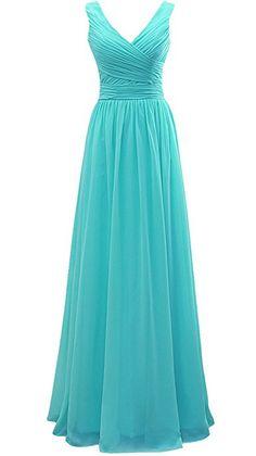 Vivebridal Long V-Neck Chiffon Bridesmaid Dress Ruched Party Dress Lace Up Dress Turquoise us16