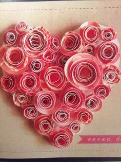 väripaperirullausta Valentine Day Crafts, Holiday Crafts, Paper Hearts, Kirigami, Love Heart, Arts And Crafts, Pink, Creative Ideas, Crafting