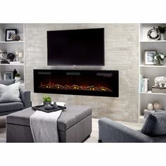 Sierra 72 in. Wall/Built-in Linear Electric Fireplace in Black Sierra 72 in. Wall/Built-in Linear Electric Fireplace in Black Sierra 72 in. Wall/Built-in Linear Electric Fireplace in Black Home Fireplace, Fireplace Feature Wall, Tv Above Fireplace, Fireplace Design, Living Room With Fireplace, Living Room Designs, House, Fireplace Remodel, Home Decor
