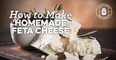 Feta cheese makes a wonderful addition to salads or sandwiches, or as a garnish for meat or vegetables. Generally made with goat milk, it can be made with cow milk if desired. Homemade Feta Cheese Recipe, Feta Cheese Recipes, Milk Recipes, Dairy Recipes, Savoury Recipes, Spaghetti Squash Nutrition Info, Charcuterie Cheese, How To Make Cheese, Making Cheese