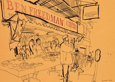 lucinda rogers drawing black and white ink orchard street new york city downtown market cityscape street scene