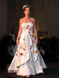 Tara Lynn Bridal: Fall Foliage Fiorella | Custom Hemp Silk Embroidered Autumnal Wedding Gown - Fall colors and a beautiful design! I love it.
