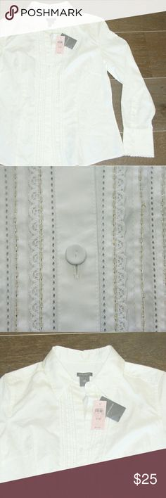 Ann Taylor white dress shirt Ann Taylor white dress shirt Fine stretch cotton Intricate beaded pleated front and details  Cloth covered buttons NWT  This shirt is new, never worn, with original tags still attached. It was stored folded in my closet and could use a light laundering (it is wrinkled).   Size 10P Original envelope with extra buttons is still attached. Ann Taylor Tops Button Down Shirts