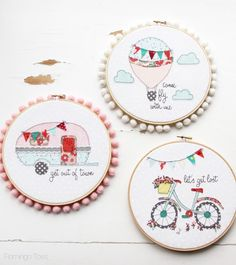 :: Crafty :: Quilt :: Patchwork :: Fun Summer Embroidery Hoop Art