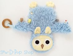 Owl Mini Baby Blanket Lovey Teething Organic Ring by SewDPopShop