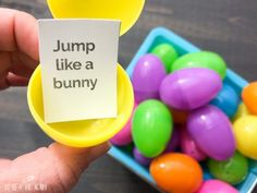 Spring Movement Game Using Plastic Eggs + Free Printable Action Cards - Creative Little Explorers Easter Games, Easter Activities, Spring Activities, Movement Preschool, Movement Activities, Physical Activities, April Preschool, Preschool Activities, Music Activities