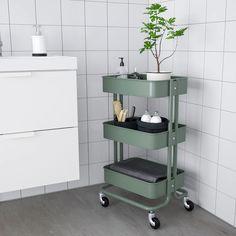 Bathroom Cart, Ikea Bathroom, Bathroom Storage, Bathrooms, Raskog Ikea, Ikea Raskog Trolley, Kitchen Island Trolley, Kitchen Cart, Decorating Bathrooms