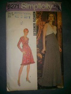 Rare Vintage Simplicity 6271-Misses Dress in Two Lengths-size 12-ca.1974-UNCUT