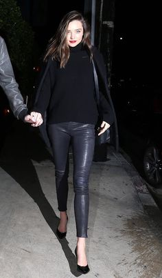 Celebrities In Leather: Miranda Kerr wears black leather pants