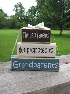 "Pregnancy Announcement. Wood Block Stack:""The Best Parents Get Promoted to Grandparents"" - Pregnancy announcement. GIft for Grandpa, Grandma..."