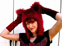Red Kitty Hat Faux Fur