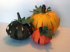 Fall Decor Paper Pumpkins by designsbymarygrace on Etsy Autumn Crafts, Holiday Crafts, Holiday Fun, Adornos Halloween, Manualidades Halloween, Thanksgiving Art, Thanksgiving Centerpieces, Pumpkin Crafts, Paper Pumpkin