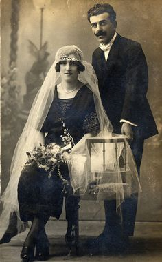 Spanish wedding couple, 1920s