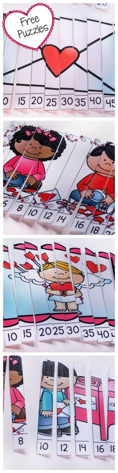 These free skip counting puzzles for Valentine's Day are such a fun way to practice counting by and (Valentins Day For Kids Classroom) Math Activities For Kids, Valentines Day Activities, Preschool Math, Kindergarten Classroom, Math Games, Classroom Activities, Counting Puzzles, Skip Counting, First Grade Math